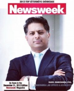 RAHUL MANCHANDA TOP ATTORNEY IN THE UNITED STATES OF AMERICA FOR 2013 NEWSWEEK MAGAZINE